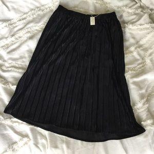 World Market Black Velvet Pleated Midi Skirt NWT